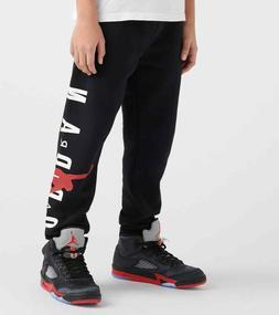 NWT NIKE AIR JORDAN Boys Fleece Jogger Sweat Pants Black Lim