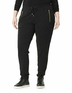 NWT RALPH LAUREN Black Jersey Jogger Pants Gold Zippers Wome