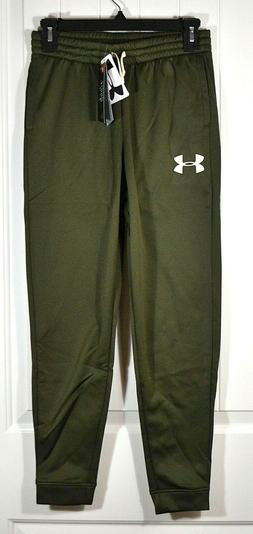 NWT BOYS KIDS UNDER ARMOUR MED GREEN ATHLETIC SWEATS PANTS J
