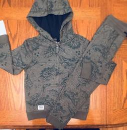 NWT Little Boys OSHKOSH Dinosaur Hoodie And Joggers Set Size