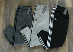 NWT ADIDAS Men's 3 Stripe Fleece Jogger Sweatpants BLACK GRA