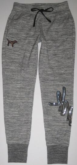 NWT VICTORIA'S SECRET PINK XS GRAY MARLED BLING LOGO SKINNY