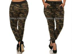 OLIVE GREEN CAMO JOGGERS Camouflage Track Pants Drawstring P