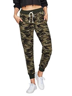 SweatyRocks Women Pants Casual Tie Waist Yoga Jogger Pants C