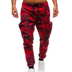 Plus Size Men's Drawstring Classic Camo Joggers Pants Zipper