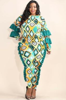Plus Size Tribal Blue Green Ruffle Sleeve Pullover Shirt & J