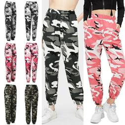 Plus Womens Cargo Pants High Waist Jogger Camo Trousers Pock