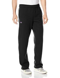 Champion Men's Powerblend Sweats Open Bottom Pants Black XL