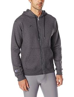 Champion Men's Powerblend Full-Zip Hoodie, Granite Heather,