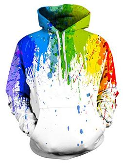 Leapparel Print Hoodie for Women, Mens Paint Graphic Pocket