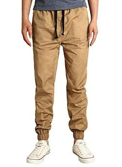HEMOON Mens Regular Fit Twill Chino Jogger Pants Medium P06-