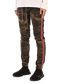 JD Apparel Men's Retro Jogger Pants with Red Stripes M Olive