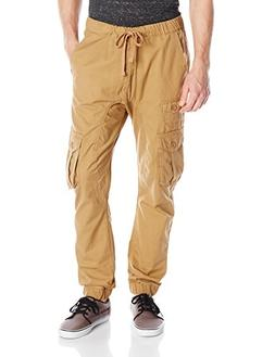 Akademiks Men's River Cargo Twill Jogger Pants, Khaki, Large