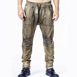 Robin's Jeans Mens Gold Metallic Sunrise Coated Moto Joggers