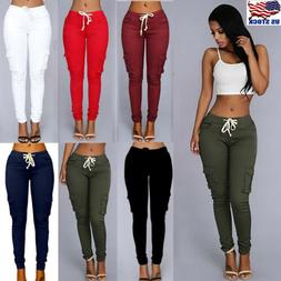 S-4XL Womens Cargo Pants High Waist Jogger Skinny Trousers P