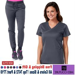 Med Couture Scrubs Set TOUCH Mock Wrap Top & Jogger Yoga Pan