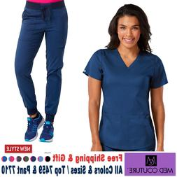 Med Couture Scrubs Set TOUCH V-Neck Shirttail Top & Jogger Y