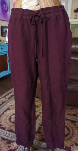 Old Navy Size Large TALL Joggers Casual Linen NWT RARE Burgu