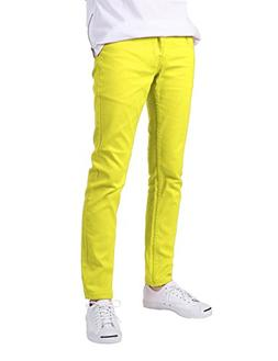 JD Apparel Men's Skinny Fit Jeans Neon Yellow 30x30