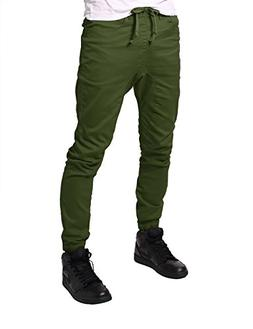 JD Apparel Men's Slim Fit Drawstring Harem Jogger Pants S Ol