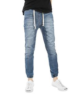 JD Apparel Mens Slim Fit Washed Denim Joggers Medium Vintage