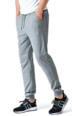 Bertte Men's Slim-Boys Jogger, Heather Grey, Large