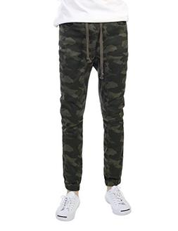 JD Apparel Mens Slim Straight Joggers XXL Olive Camouflage
