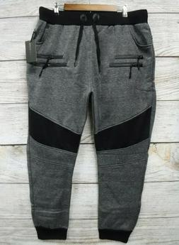 Steve's Jeans Joggers Mens 2X Black Grindle Zipper Embellish