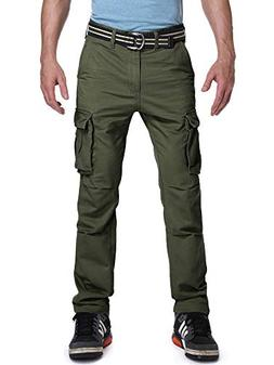 OCHENTA Men's Straight Leg Comfort Fit Cargo Pant Army Green