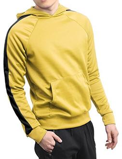 Hat and Beyond Mens Stripe Active Pullover Stretch Hoodie Tr