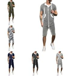 Summer Men Boy Zipped Hooded Jumpsuit Casual Rompers Short S