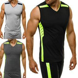 Summer Men's Sleeveless Sports Gym T-shirts Tank Vest Casual