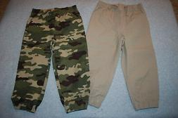 Toddler Boys 2 LOT WOVEN JOGGERS Pants CAMOUFLAGE & BEIGE El