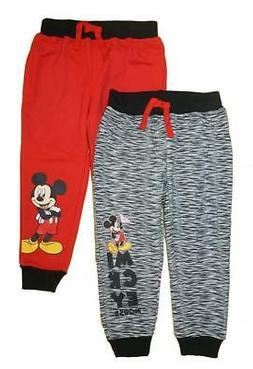 Mickey Mouse Toddler Boys Black & Red Two-Pack Joggers Size
