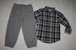 Toddler Boys BLACK WHITE BLUE PLAID L/S SHIRT Button Front G