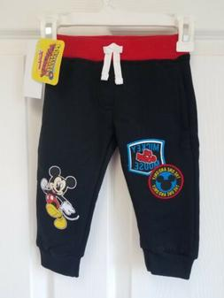 Toddler Boys Disney Mickey Mouse Jogger Pants - Black - 12 M