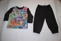 Toddler Boys Outfit L/S DINOSAUR TEE SHIRT Black Woven Jogge
