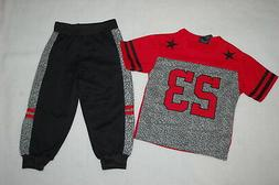 Toddler Boys Outfit S/S JERSEY T-SHIRT #23 Red Gray KNIT JOG