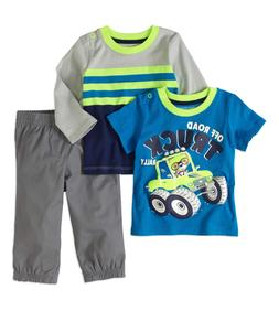 TODDLER BOYS SIZE 12 MONTH GRAPHIC T, LS SHIRT + JOGGER PANT