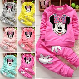 Toddler Kids Baby Girls Minnie Mouse Outfits Clothes 2Pcs Se