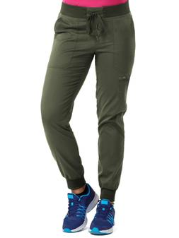 Med Couture Touch Women's Jogger Yoga Scrub Pant, Olive, Sma