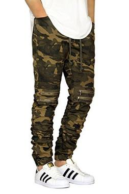 Victorious Mens Twill Biker Jogger Pants with Shirring Detai