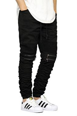 Victorious Men's Twill Biker Jogger Pants With Shirring Deta
