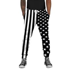 Loveternal Unisex 3D Print American Flag Pants USA Baggy Mus