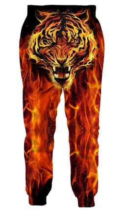 Unisex Casual Trousers 3d Tiger On Fire Jogger Pants Sweatpa