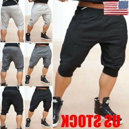 US Men's Knee Length Cotton Joggers Sports Shorts Baggy Gym