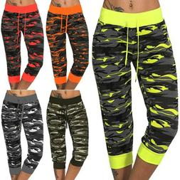 US Women Camo Joggers Tracksuit Bottoms Yoga Leggings Capri