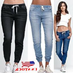 US Women's Casual Denim Jogger Pants Ladies Drawstring Elast