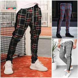 USA Gym Mens Trousers Plaid Tracksuit Bottoms Skinny Joggers