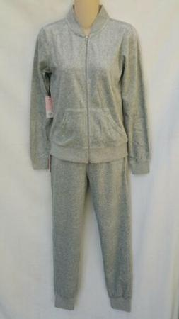 Juicy Couture Velour Jacket and Joggers Set Gray Women's Siz